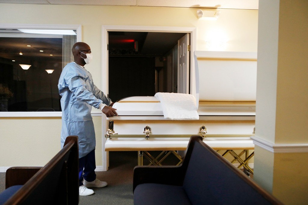 Funeral Home Director In Tampa, Florida Prepares For A Funeral For Man Who Died From Covid 19