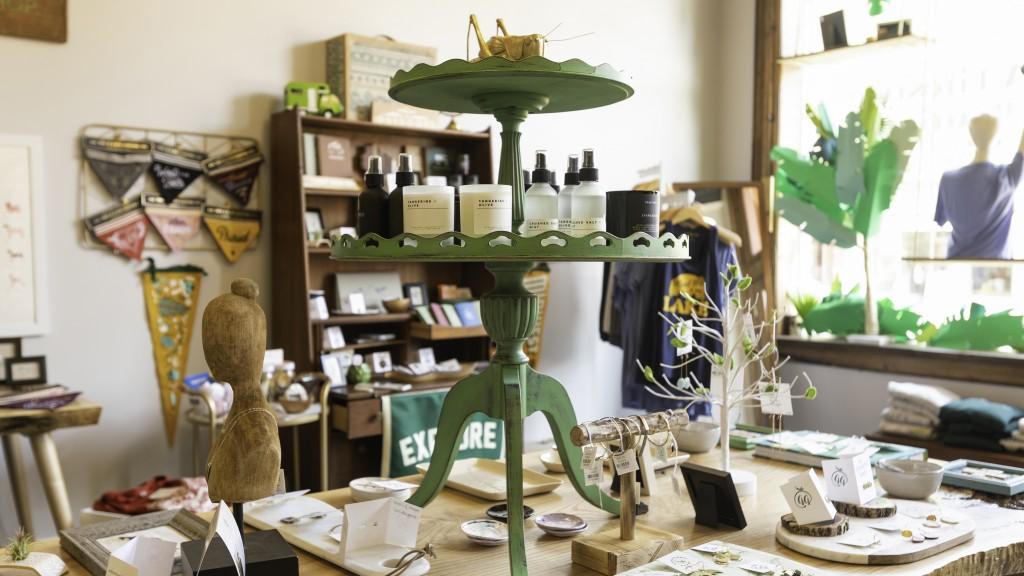 Table of items at grasshopper goods