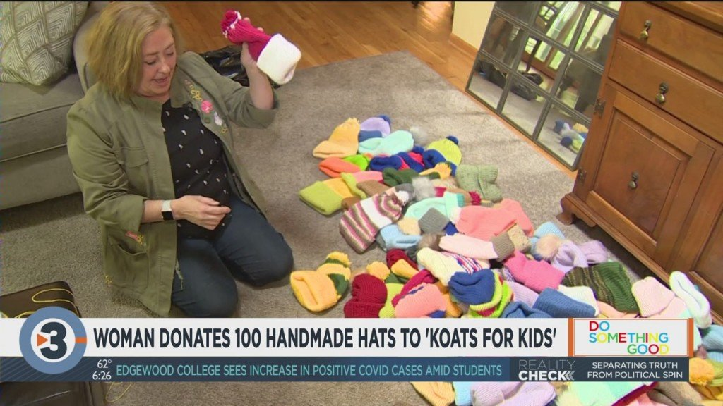 Woman Donates 100 Handmade Hats To Koats For Kids