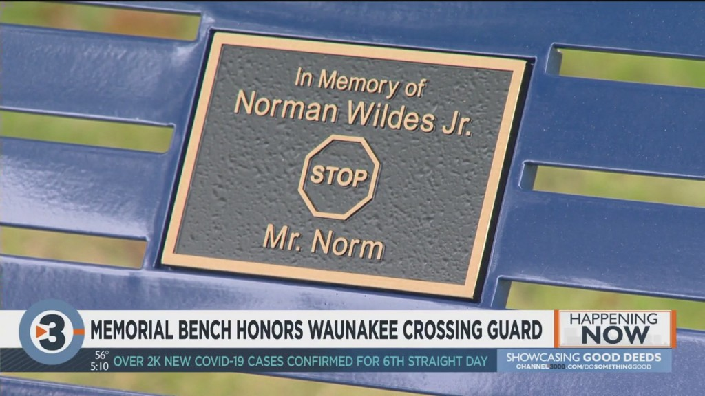 Memorial Bench Honors Waunakee Crossing Guard