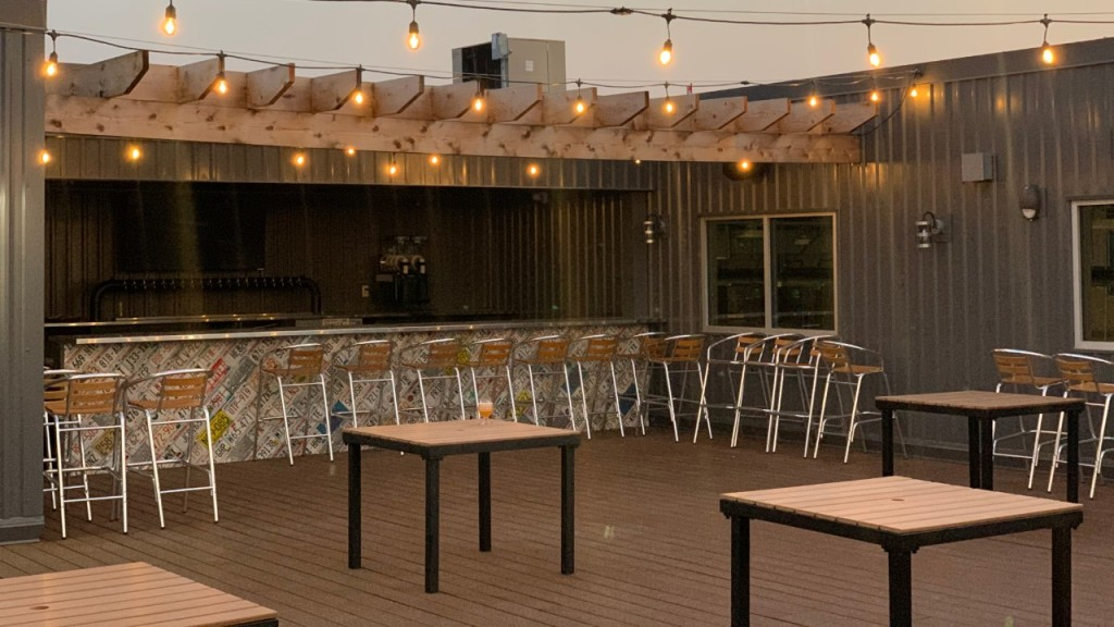 Hop Haus has an outdoor patio where guests can grab a drink and enjoy the sun.
