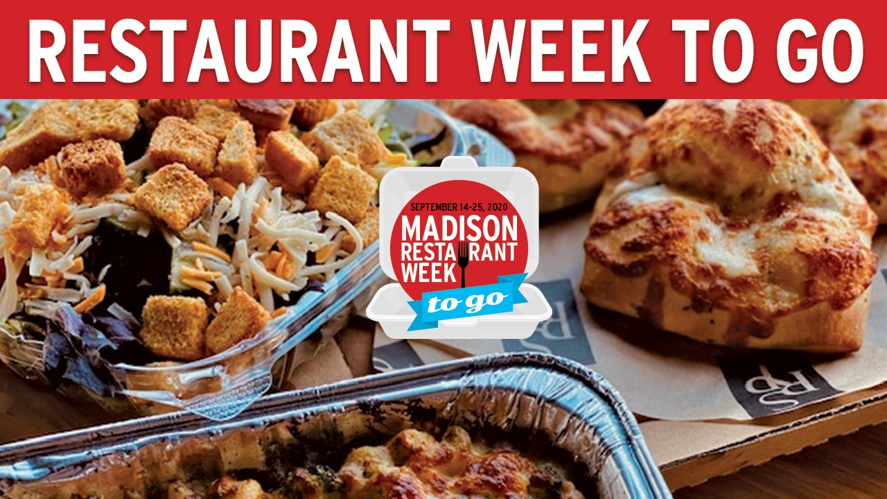 Restaurant Week To Go header with bread, salad and pasta