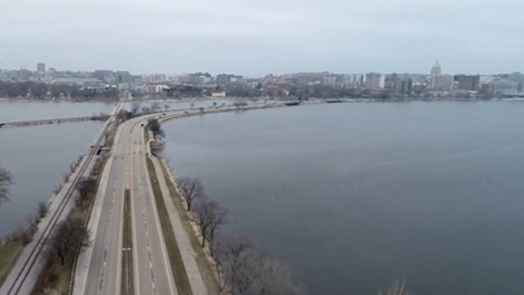 Downtown Madison View from Sky3 drone