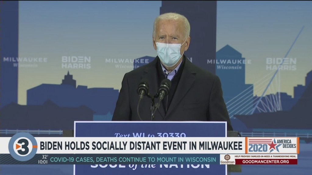 Biden Holds Socially Distant Event In Milwaukee