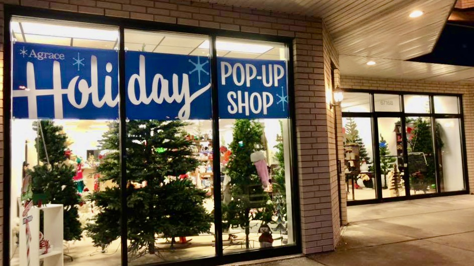 Agrace Pop-up Holiday storefront