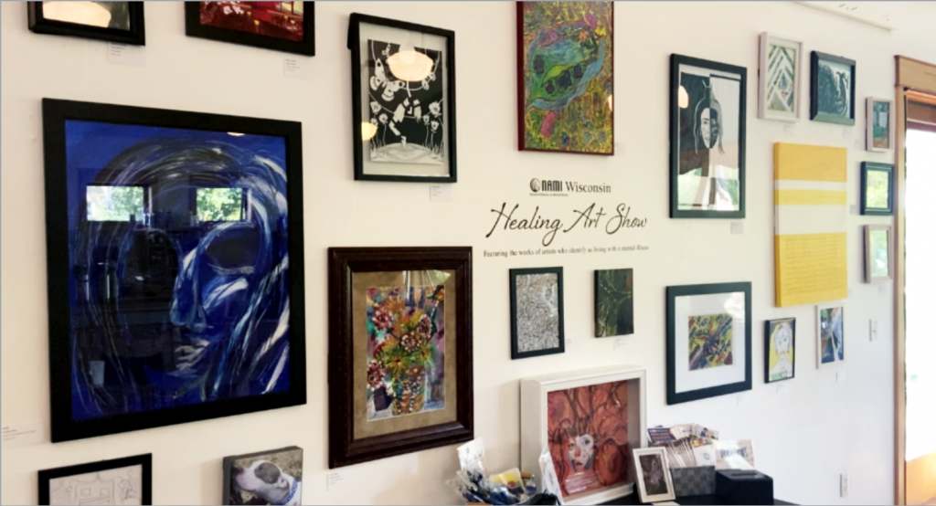 Artwork done by artists looking to take the stigma away from mental health are on display at the Lakeside St. Coffee House for NAMI's Healing Art Show
