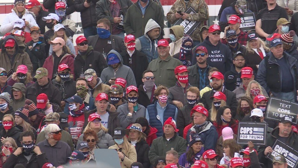 Trump rally attendees in crowd