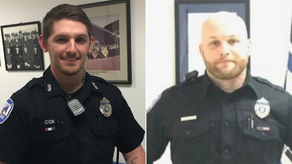 Officer Addison Cox, left, and Mike Rolerson