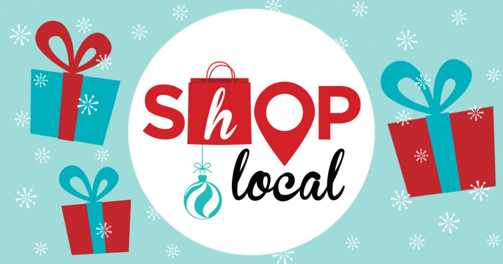 Shop local logo with presents surrounding it