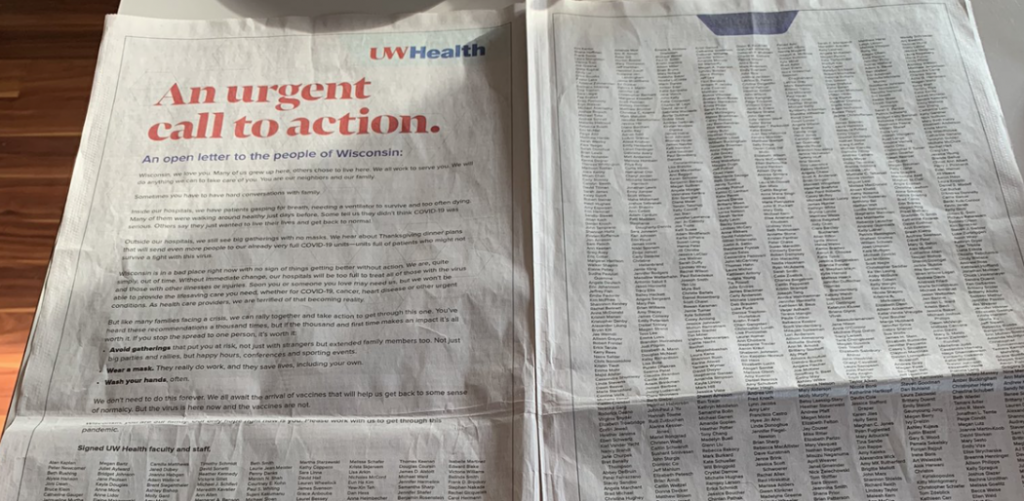 UW Health two-page spread in Wisconsin State Journal
