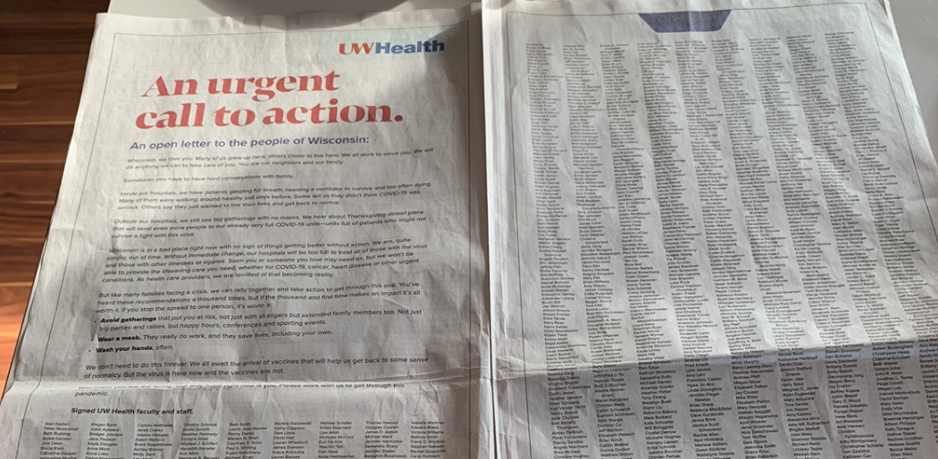 """MADISON, Wis. — In an open letter to Wisconsin, several thousand UW Health faculty and staff signed a statement urging Wisconsinites to """"work with us to get through the pandemic."""" In the letter, employees called Wisconsin family, saying that """"sometimes you ha…"""