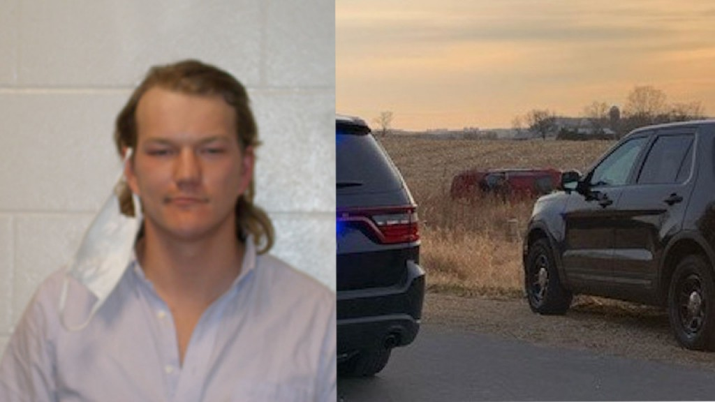 Dominic Olsen mugshot on the left, on the right side the car in the cornfield
