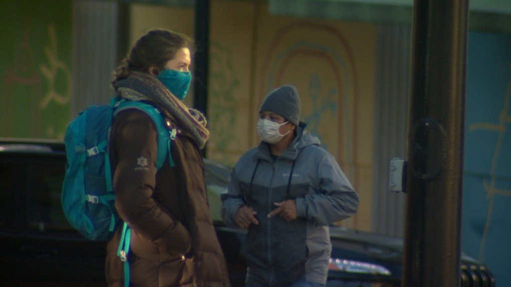 People wearing masks in downtown Madison, WI