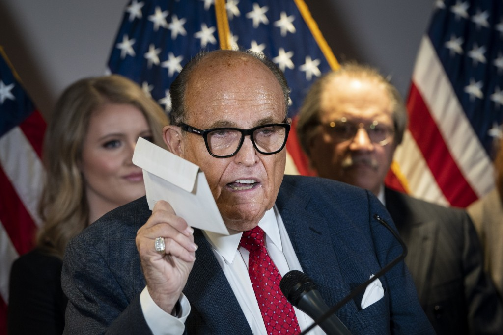 Rudy Giuliani And Trump Legal Advisor Hold Press Conference At Rnc Hq