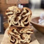 two babkas stacked on top of one another