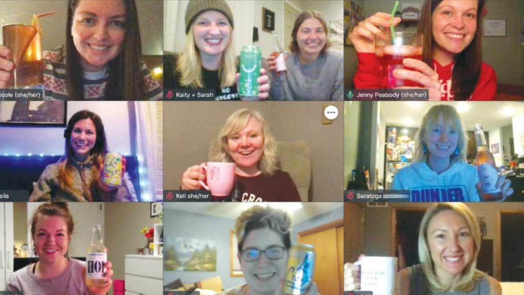 group of people on zoom drinking sober alternatives