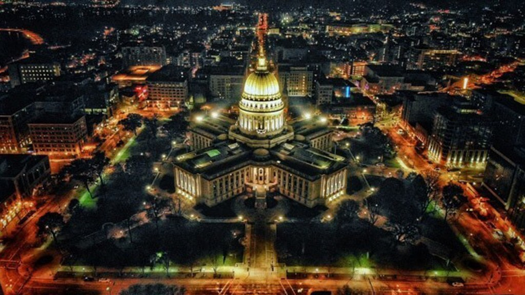 Capitol from above in a drone shot at night