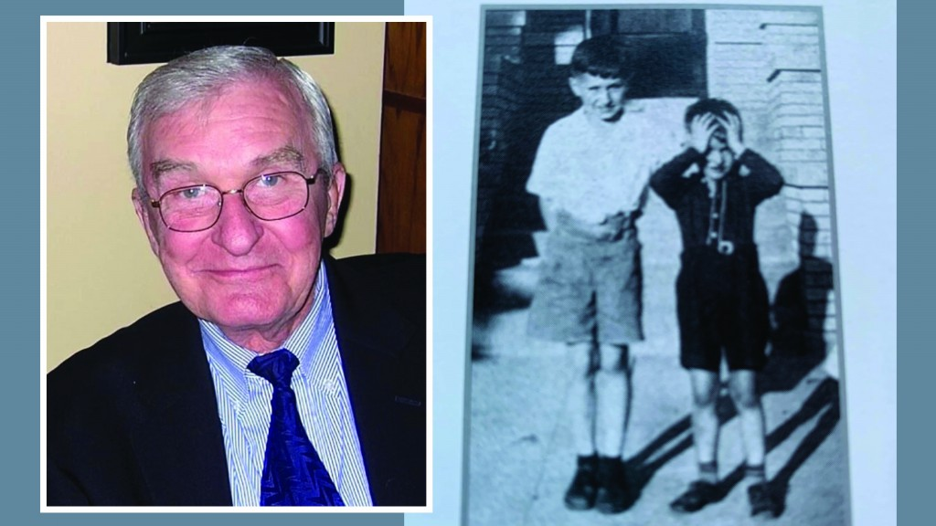 On the left is a recent head shot of Bob Royko who recently died. He is wearing glasses and a suit jacket with tie. On the right is an old photograph of brothers Mike and Bob Royko as children in Chicago.
