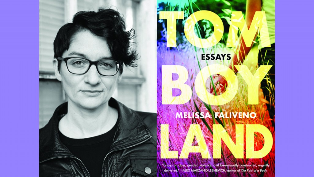 Side by side black and white headshot of Melissa Faliveno in glasses and the cover of her debut essay collection Tomboyland