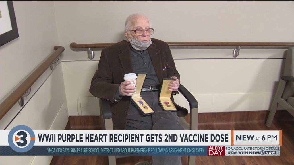 Wwii Purple Heart Recipient Receives 2nd Vaccine Dose