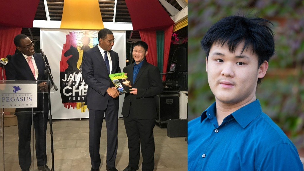 Side by side photos of Awonder Liang. On the left he is shown smiling and winning a prize in Jamaica and on the right he is wearing a blue shirt and serious face.