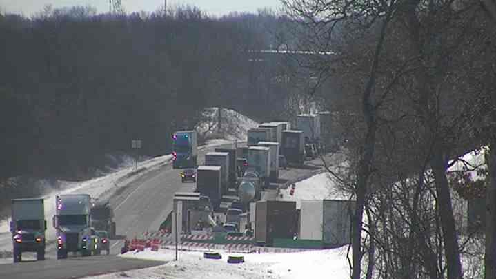 Traffic backed up on I-39 near Janesville