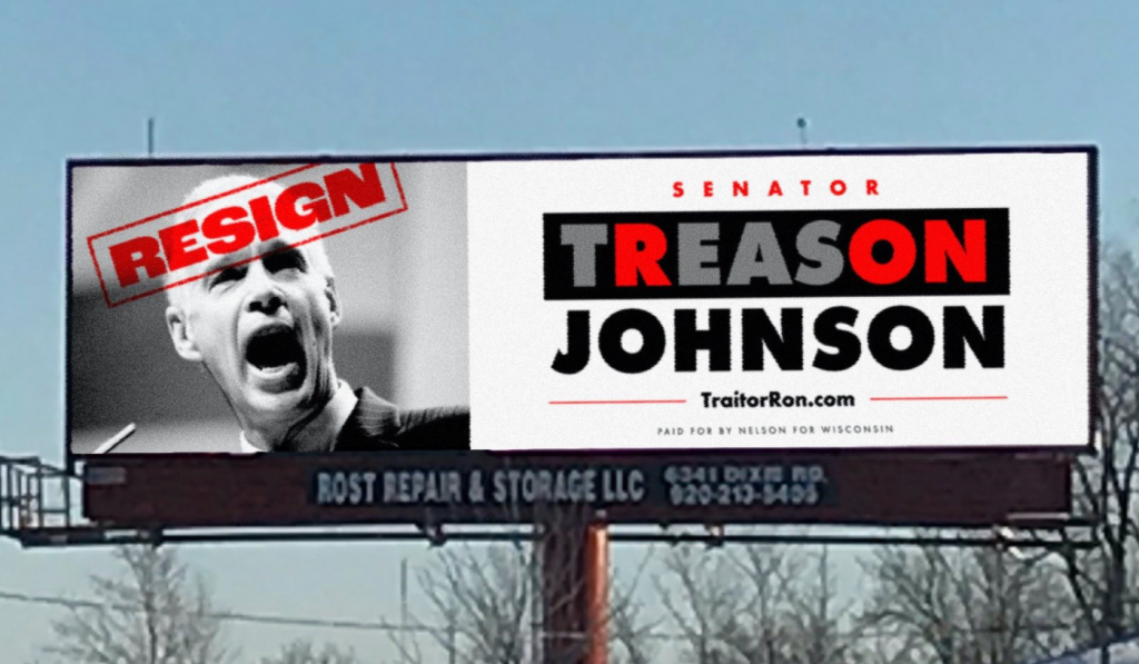 Ron Johnson treason billboard Oshkosh
