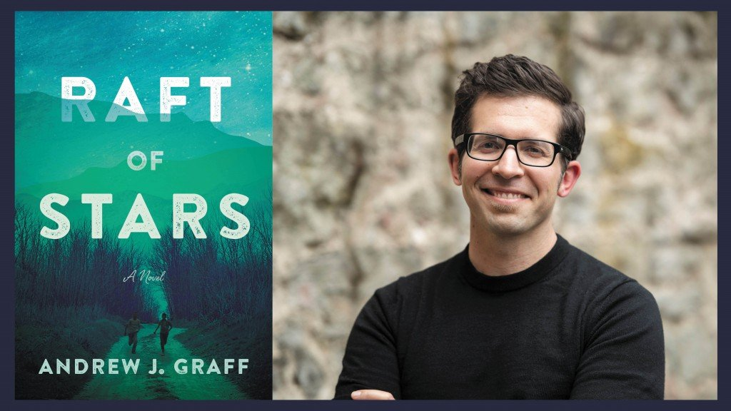 Side by side photos of the new book Raft of Stars (on the left, blue/green cover) and author Andrew Graff standing in a black shirt with arms crossed wearing glasses