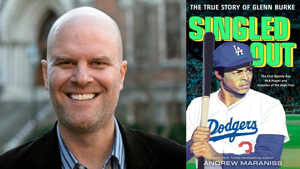 Author Andrew Maraniss headshot is placed next to his new book, a biography called Singled Out, about Major League Baseball's first openly gay player