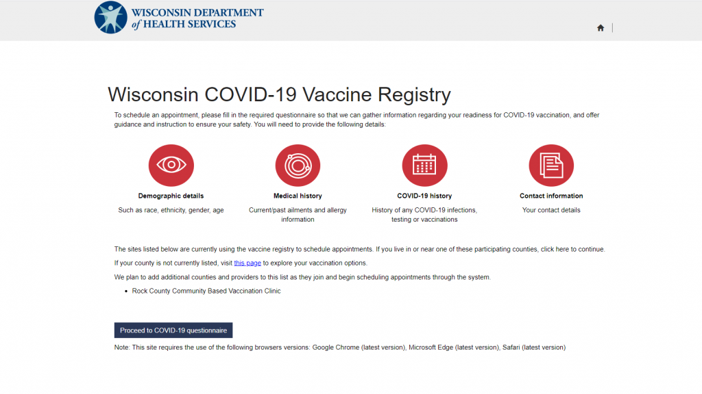 Dhs Vaccine Registry Website