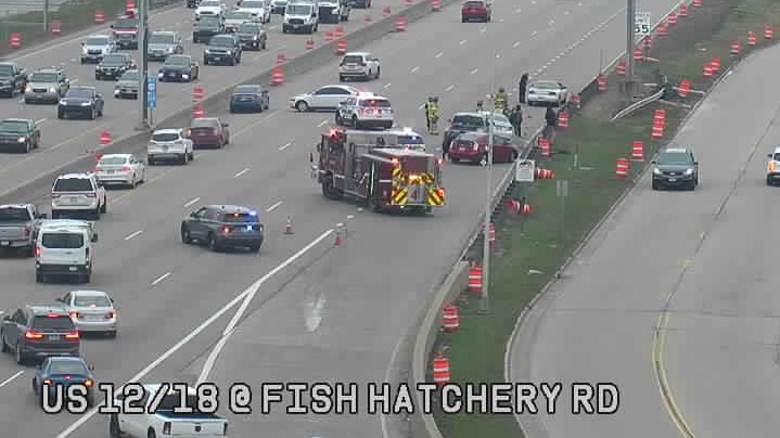 A crash on the Fish Hatchery ramp leading to the westbound Beltline