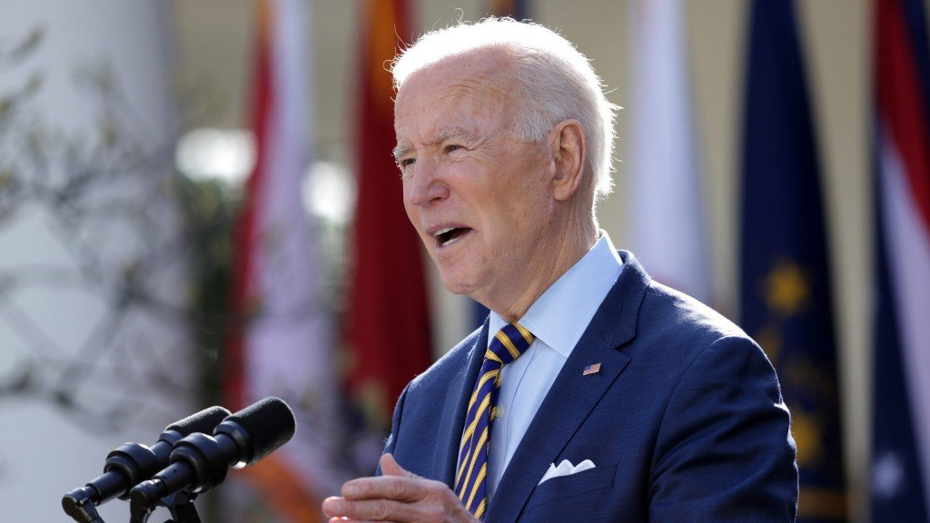 President Biden Delivers Remarks On American Rescue Plan From White House Rose Garden