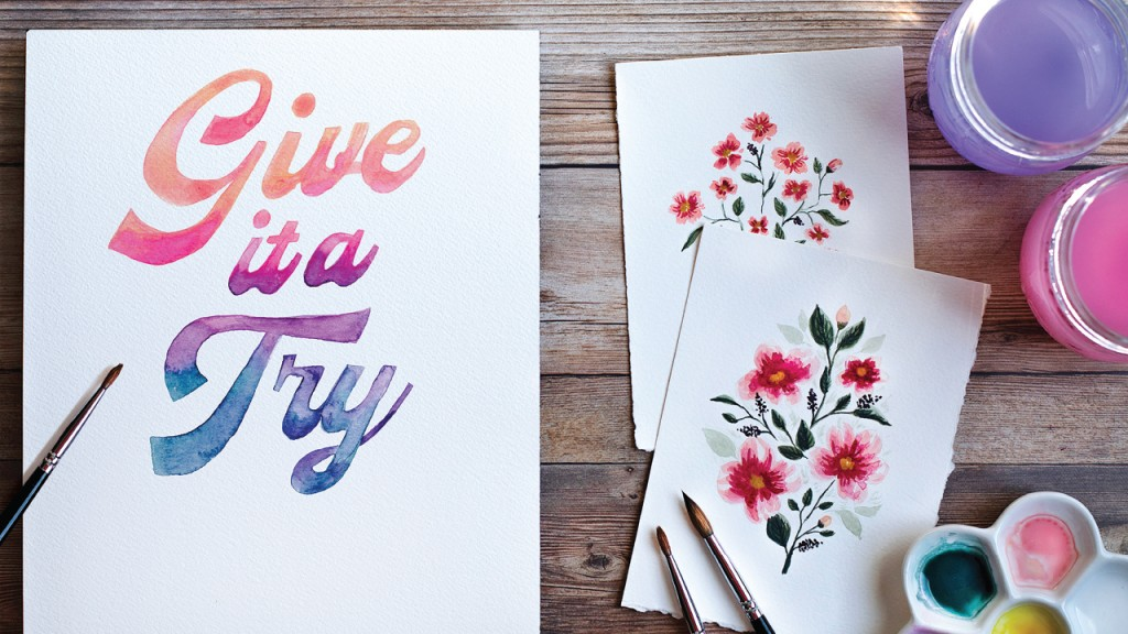 Three watercolors with one saying Give it a try and the other are two flowers