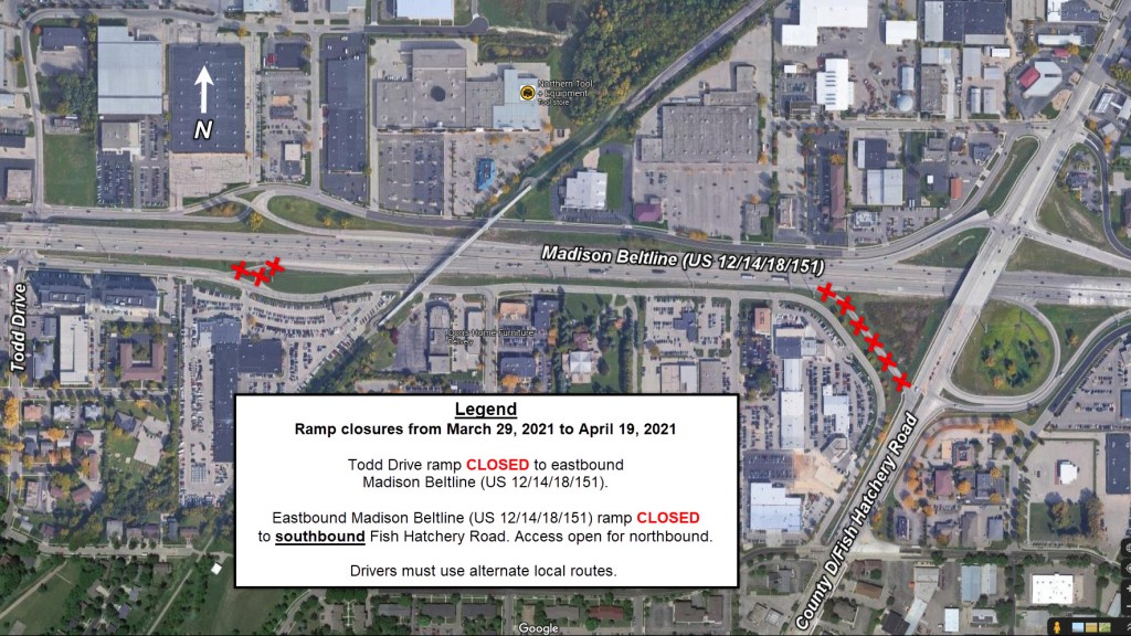 Madison Beltline Ramp Closures At Todd Dr Fish Hatch April 2021