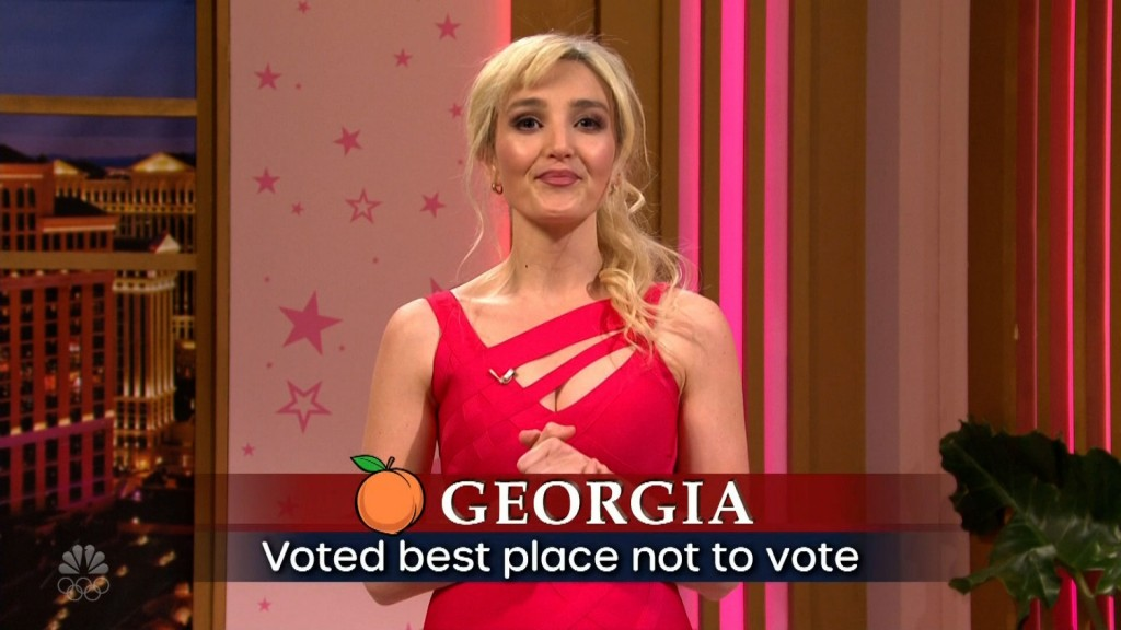 "the screen reads ""Georgia: voted best place not to vote."""