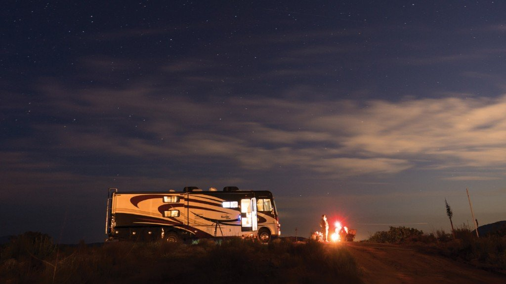 RV set up at night