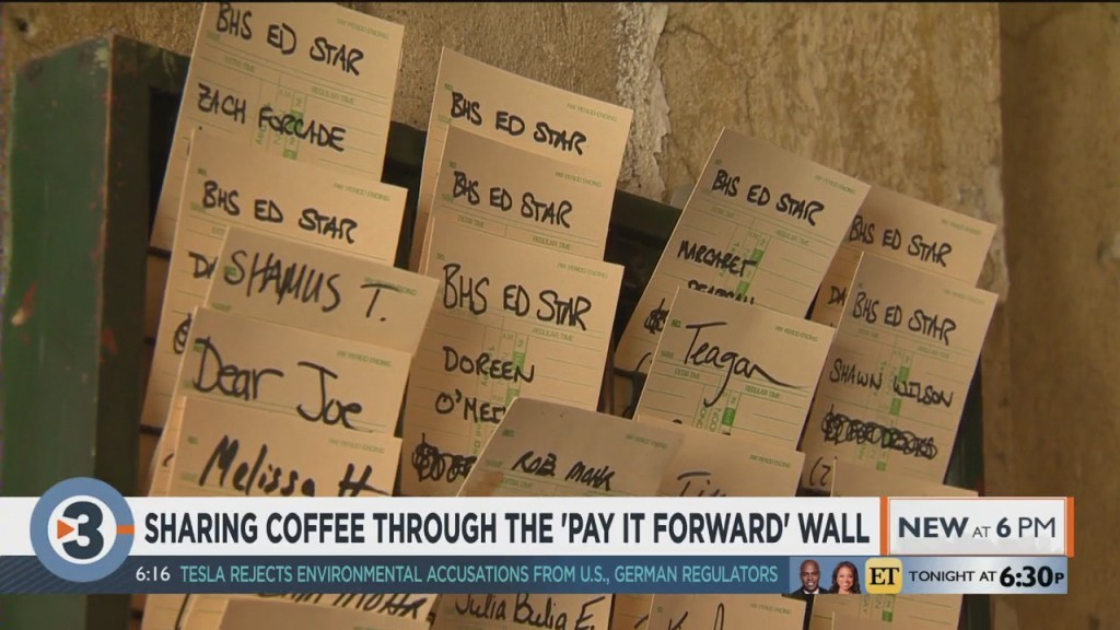 Sharing Coffee Through The 'pay It Forward' Wall