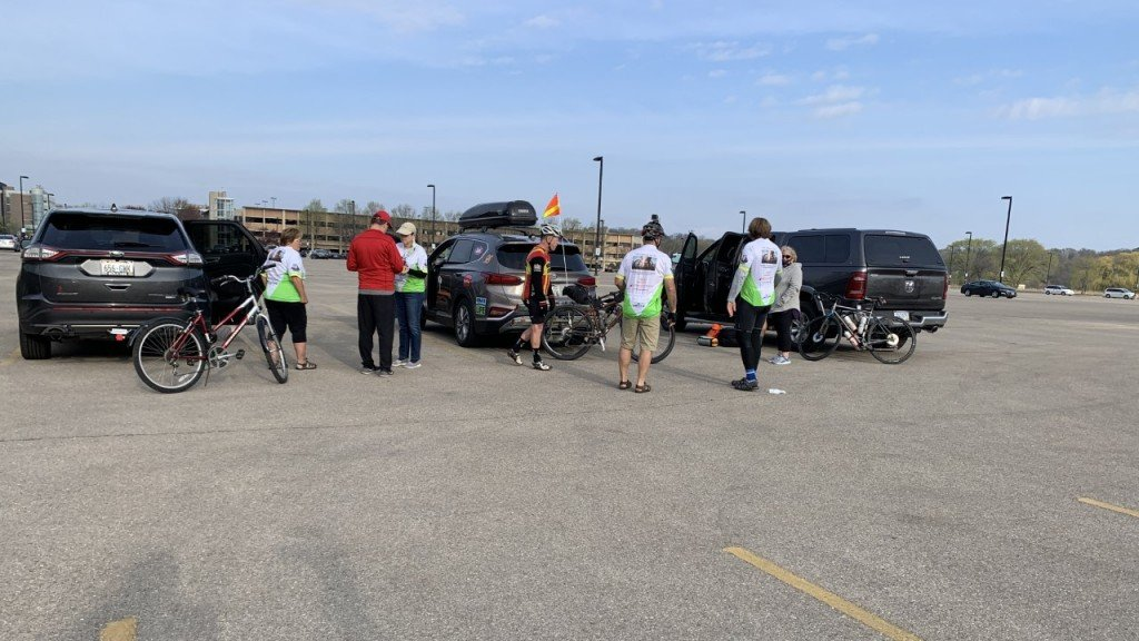 friends of Mark scotch gather for first bike ride