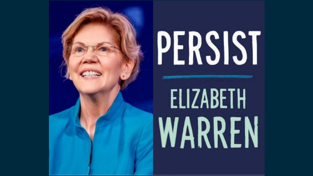 Elizabeth Warren smiling in a blue jacket next to the book jacket of her new book, Persist, which is dark blue with white lettering and her name large and in aqua