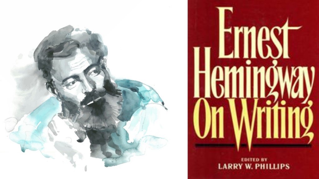 Black, white and blue watercolor illustration of Ernest Hemingway from the shoulders up next to an older looking red copy of the book called Ernest Hemingway on Writing by Larry Phillips