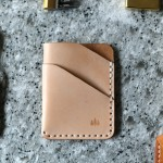leather wallet on a tool bench