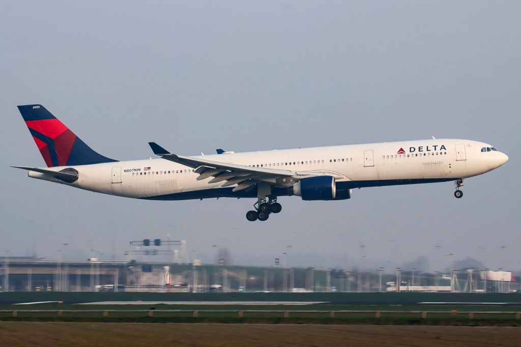 Delta Airlines Airbus A330 Aircraft Seen Arriving From The