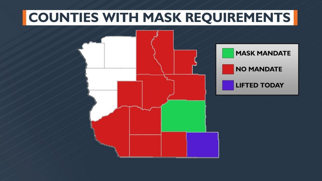 Southern Wisconsin countywide mask mandates as of May 14 2021
