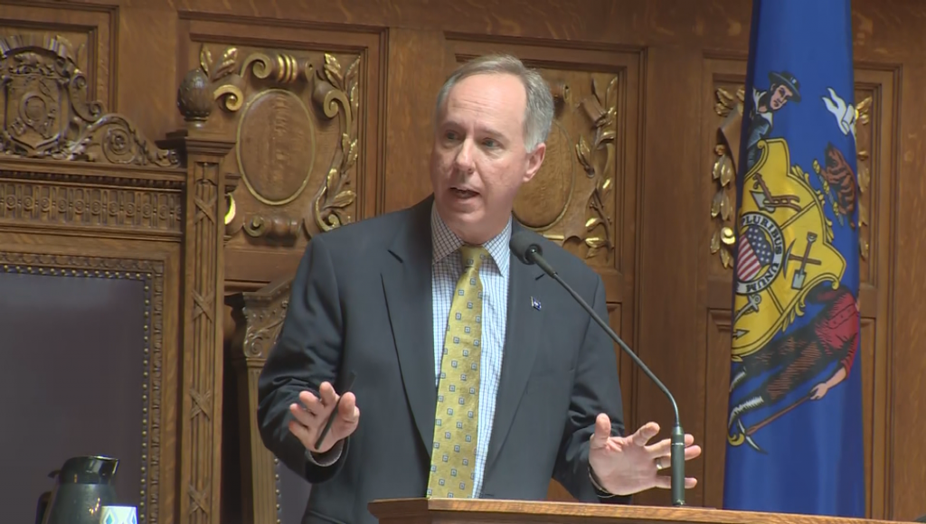 Wisconsin State Assembly Speaker Robin Vos speaks on the Assembly floor