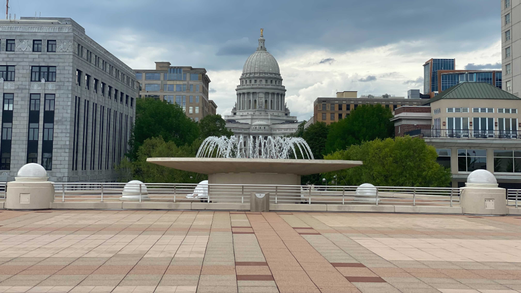 Wisconsin State Capitol from Monona Terrace in Madison, WI