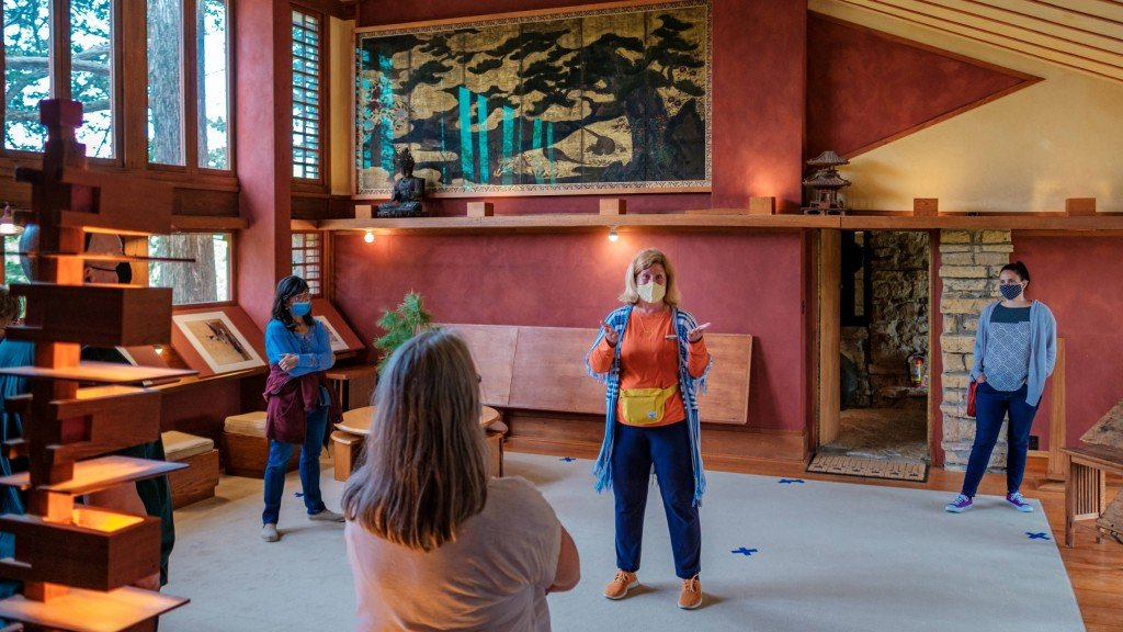 person giving a tour at Taliesin