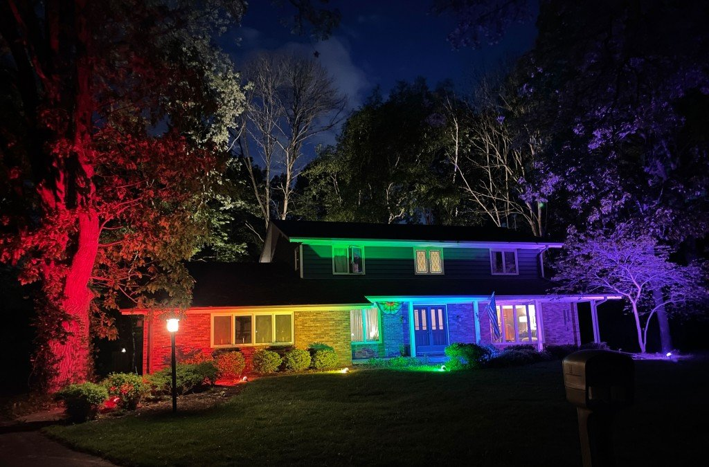 Wisconsin home lit up in rainbow colors after not being allowed to fly flag