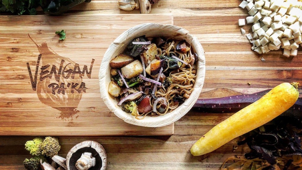 noodle dish on a cutting board