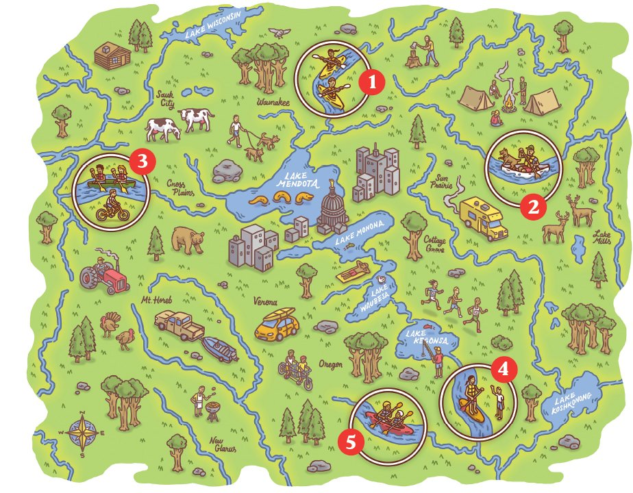 Map of different routes you can go on