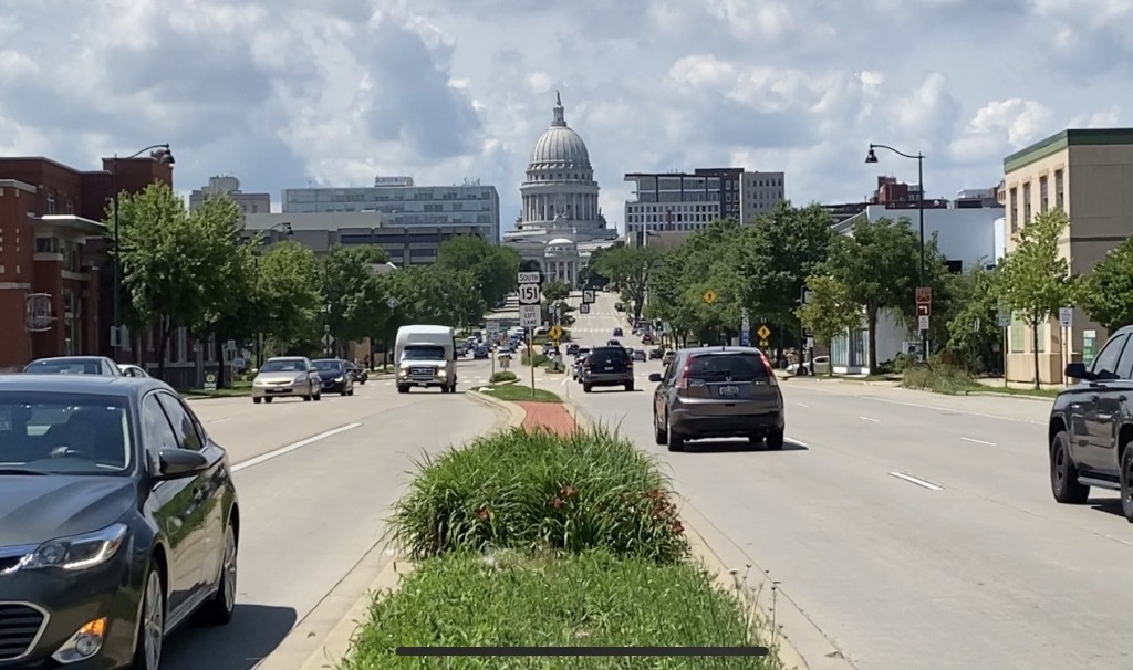 State Capitol and traffic